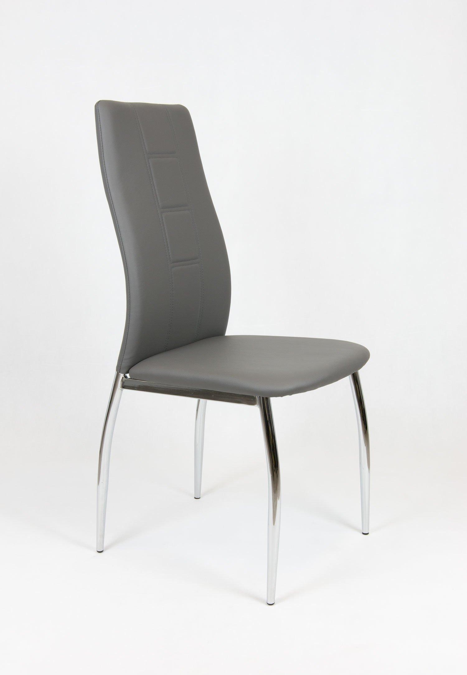 Sk design ks026 grau kunsleder stuhl mit chromgestell grau for Design stuhl grau