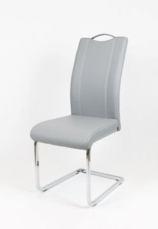 SK DESIGN KS003 GREY Synthetic lether chair with chrome rack