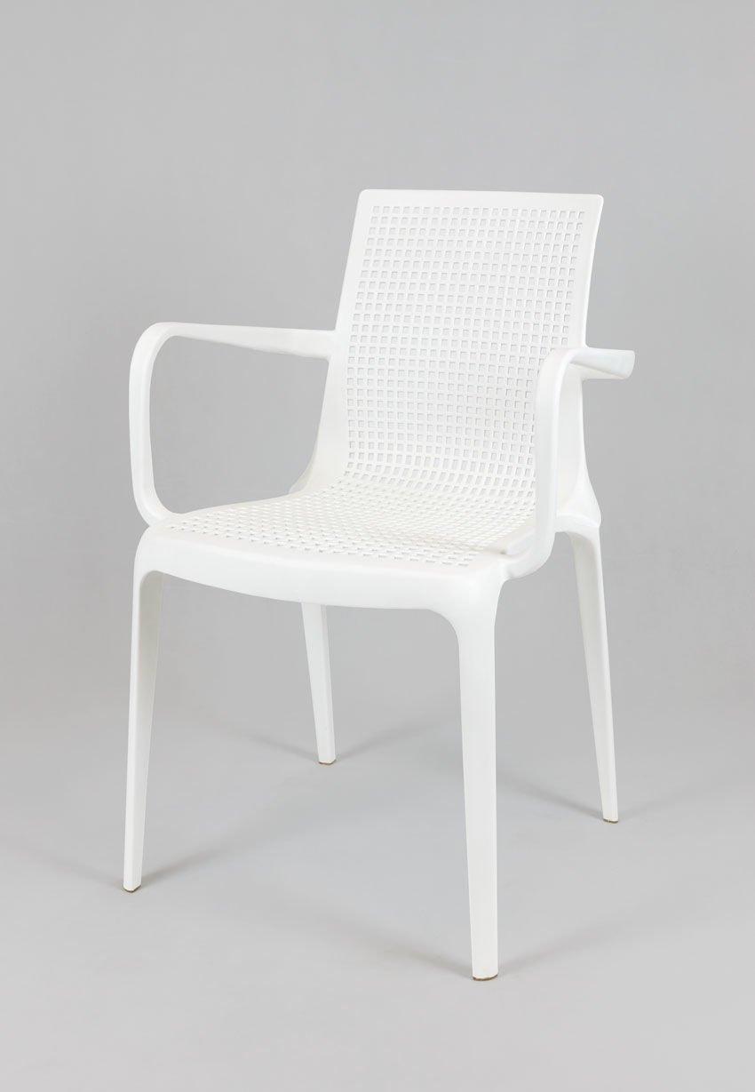 Sk design kr031 white polypropylene armrest chair white for The garden design sk