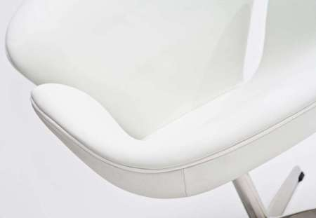 Armchair White leather 01
