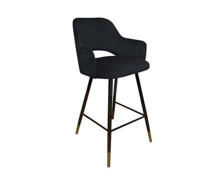 Black upholstered STAR hoker material MG-19 with golden leg