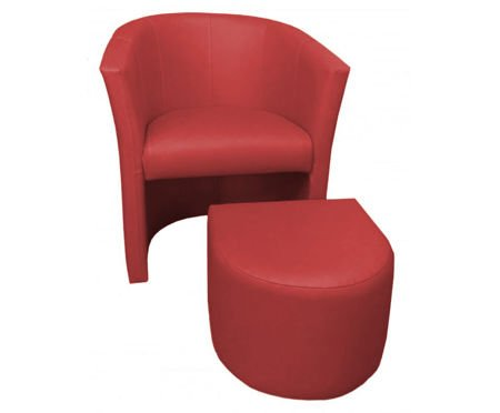 Brick red CAMPARI armchair with footrest