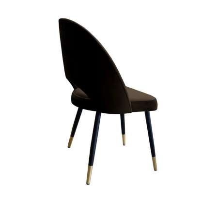 Brown upholstered LUNA chair material MG-05 with golden leg