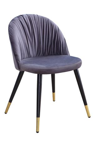 Chair MONZA gray velvet / black-gold leg