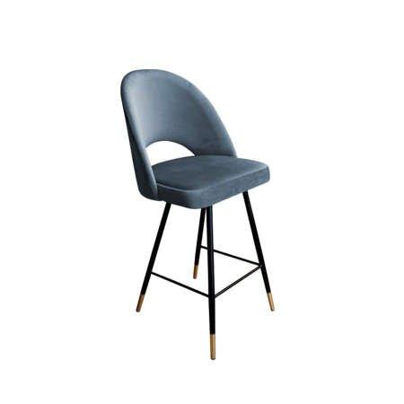 Dark gray upholstered LUNA hoker material BL-14 with golden leg