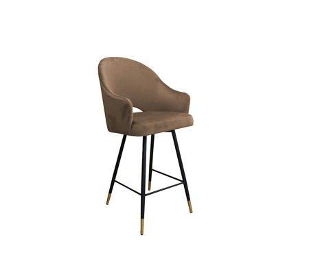 Light brown upholstered DIUNA bar stool material MG-06 with golden leg