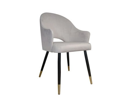 Light gray upholstered chair DIUNA armchair material MG-39 with golden legs