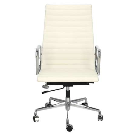 Office armchair CH1191T white leather / chrome