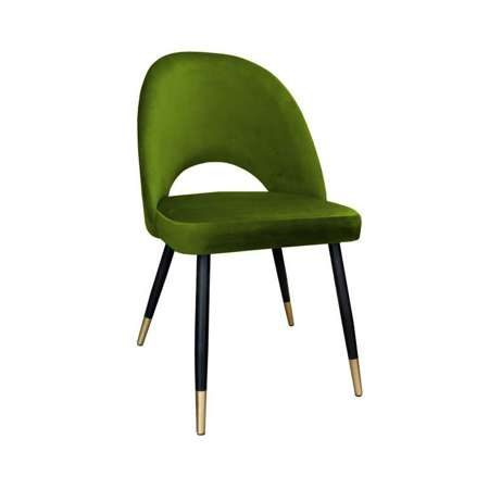 Olive upholstered LUNA chair material BL-75 with golden leg