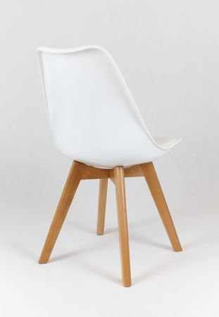 SK Design KR020 White Chair with Polypropylene and Cushion