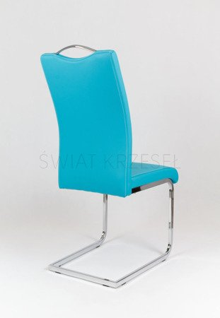 SK Design KS003 Turquoise Synthetic leather chair with chrome rack