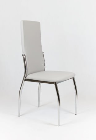 SK DESIGN KS004 LIGHT GREY Synthetic lether chair with chrome rack