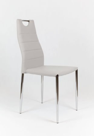 SK Design KS005 Grey Synthetic leather chair with chrome rack