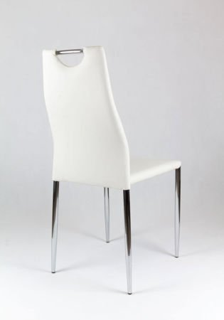 SK Design KS005 White Synthetic laether chair with chrome rack
