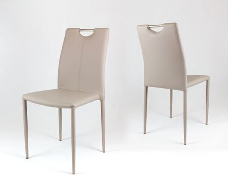 SK Design KS006 Beige Synthetic Leather Chair, Legs with Eco Leather