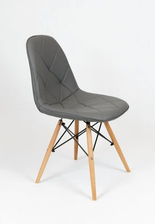 SK Design KS007 Grey Synthetic leather chair with wooden legs