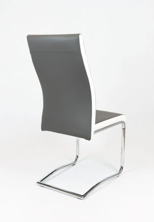 SK DESIGN KS020 GREY Synthetic lether chair with chrome rack