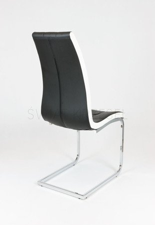 SK DESIGN KS027 BLACK SYNTHETIC LETHER CHAIR WITH CHROME RACK