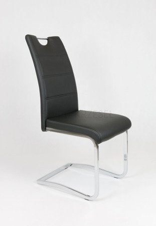 SK DESIGN KS030 BLACK SYNTHETIC LETHER CHAIR WITH CHROME RACK