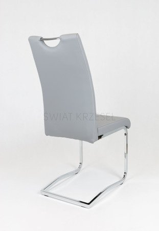 SK DESIGN KS030 GREY SYNTHETIC LETHER CHAIR WITH CHROME RACK