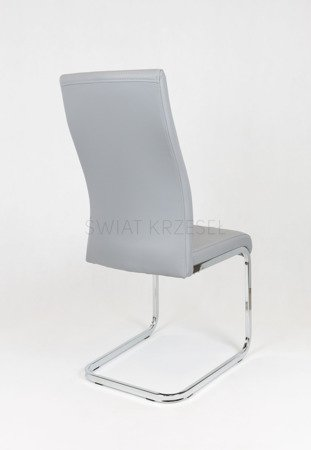 SK DESIGN KS032 GREY SYNTHETIC LETHER CHAIR WITH CHROME RACK