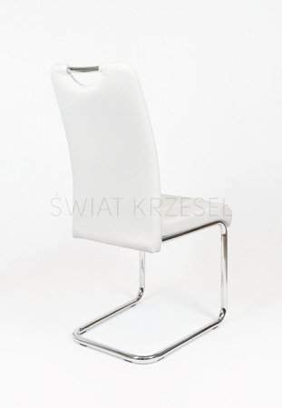 SK DESIGN KS034 WHITE SYNTHETIC LETHER CHAIR WITH CHROME RACK