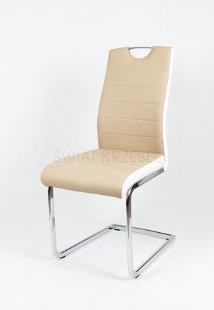 SK DESIGN KS037 BEIGE SYNTHETIC LETHER CHAIR WITH CHROME