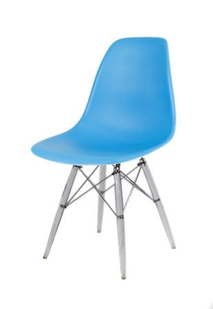 SK Design KR012 Ocean Blue Chair, Clear legs