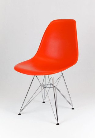 SK Design KR012 Orange Chair, Chrome legs