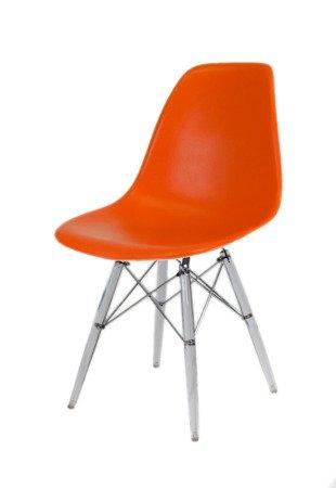 SK Design KR012 Orange Chair, Clear legs