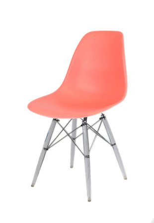 SK Design KR012 Pink Chair, Clear legs