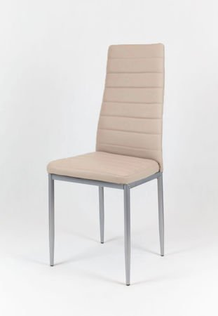 SK Design KS001 Beige Synthetic Leather Chair, Grey Frame