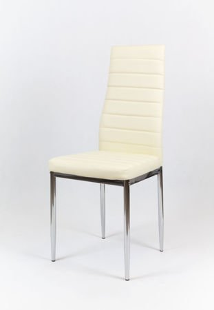 SK Design KS001 Cream Synthetic Leather Chair with Chrome Rack