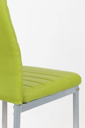 SK Design KS001 Green Synthetic Leather Chair on a Grey Frame
