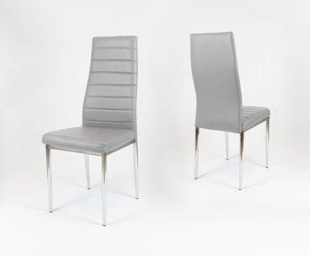 SK Design KS001 Light Grey Synthetic Leather Chair, Chrome rack