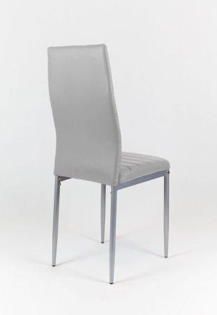 SK Design KS001 Light Grey Synthetic Leather Chair, Grey frame