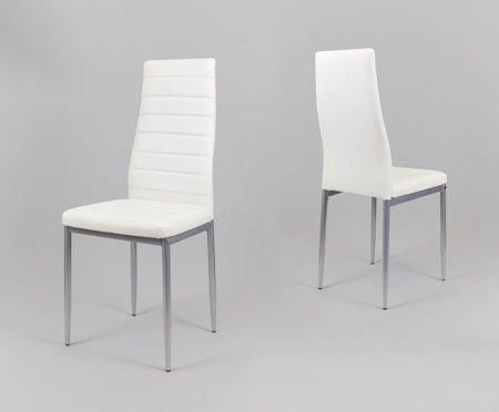 SK Design KS001 White Synthetic Leather Chair, Grey Frame