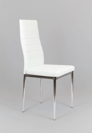 SK Design KS001 White Synthetic Leather Chair with Chrome Rack