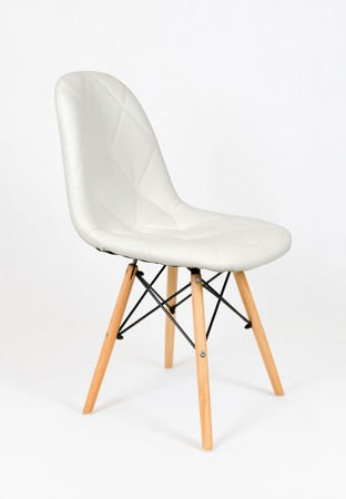 SK Design KS007 White Synthetic Leather Chair with Wooden Legs
