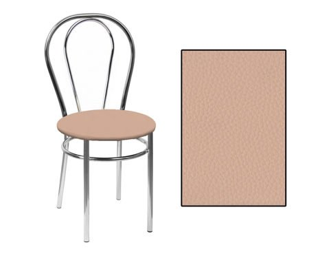 SKN Mars (Buk) Beige Chair, Chrome Legs