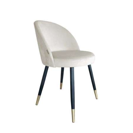 Uupholstered CENTAUR chair in ivory color material MG-50 with golden leg