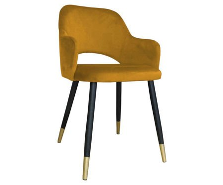 Yellow upholstered STAR chair material MG-15 with golden leg