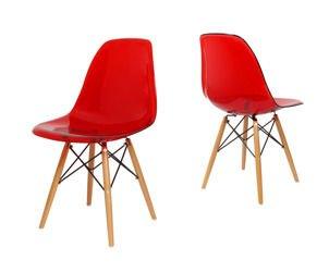 SK Design KR012 Transparent Rot Stuhl, Buche