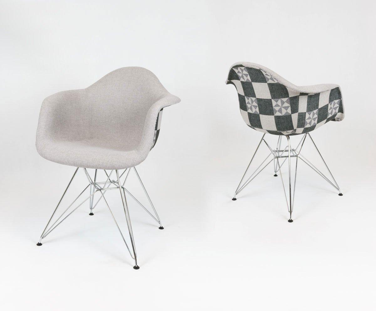 sk design kr012f polster sessel kariert chrom tkrsz. Black Bedroom Furniture Sets. Home Design Ideas