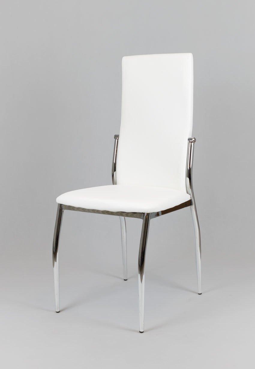 sk design ks004 weiss kunsleder stuhl mit chromgestell. Black Bedroom Furniture Sets. Home Design Ideas