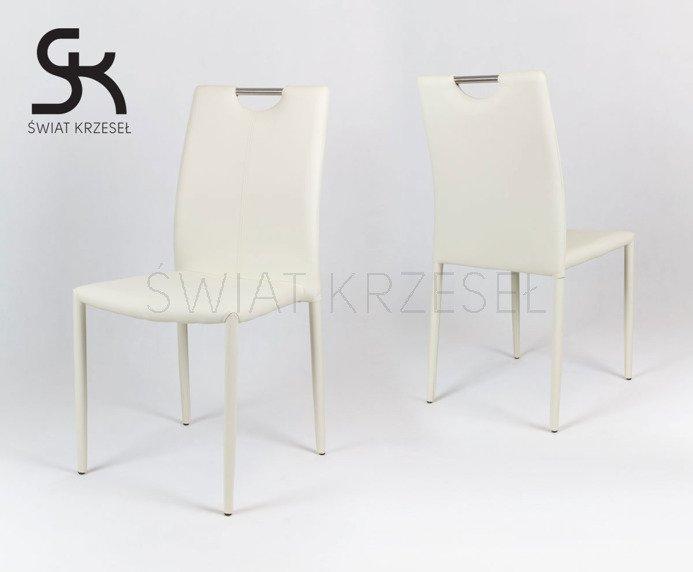 SK Design KS006 Creme Kunsleder Stuhl mit Beine aus Kunstleder ...