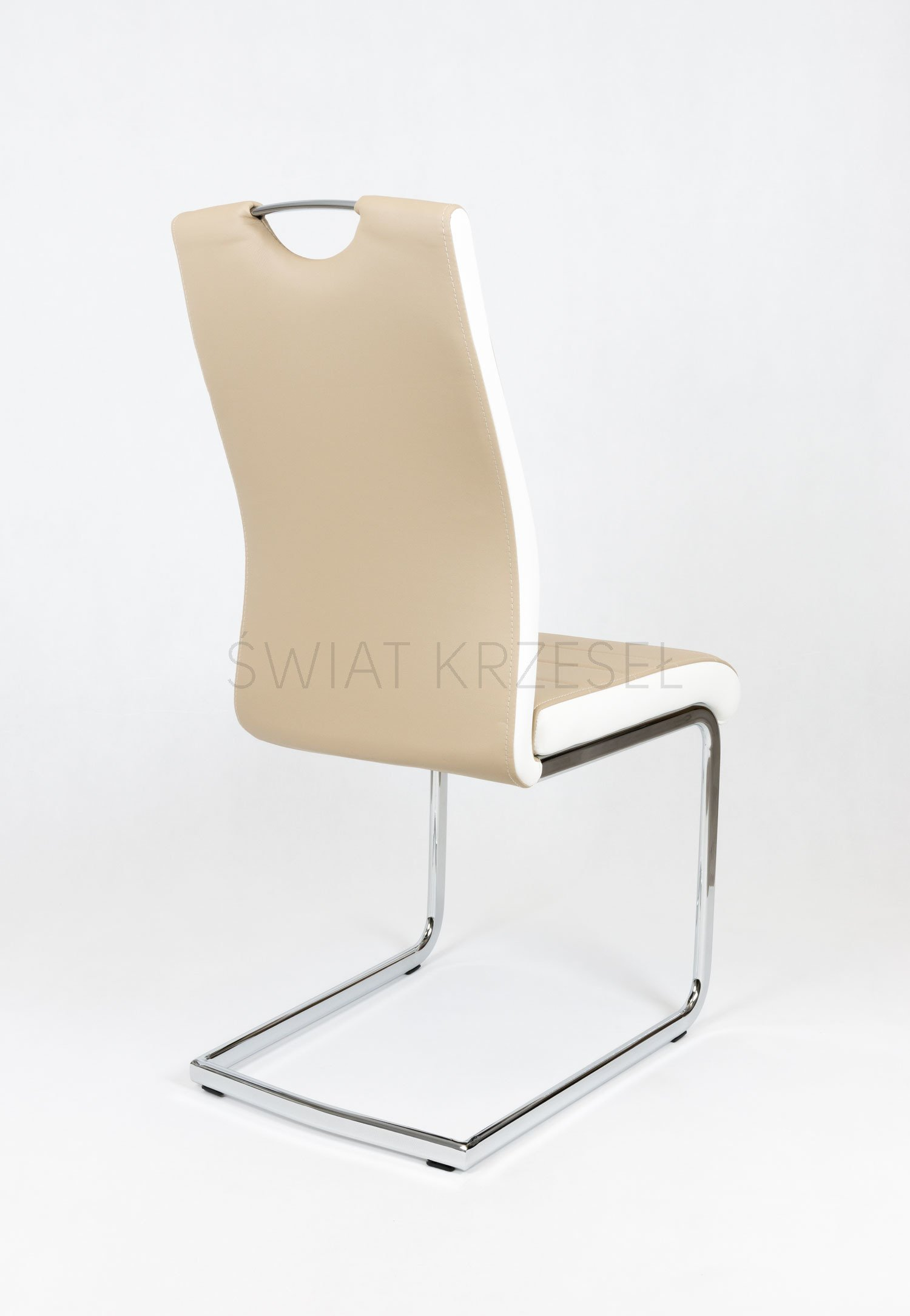 Sk design ks037 beige kunsleder stuhl mit chrome beige for Design stuhl chrom