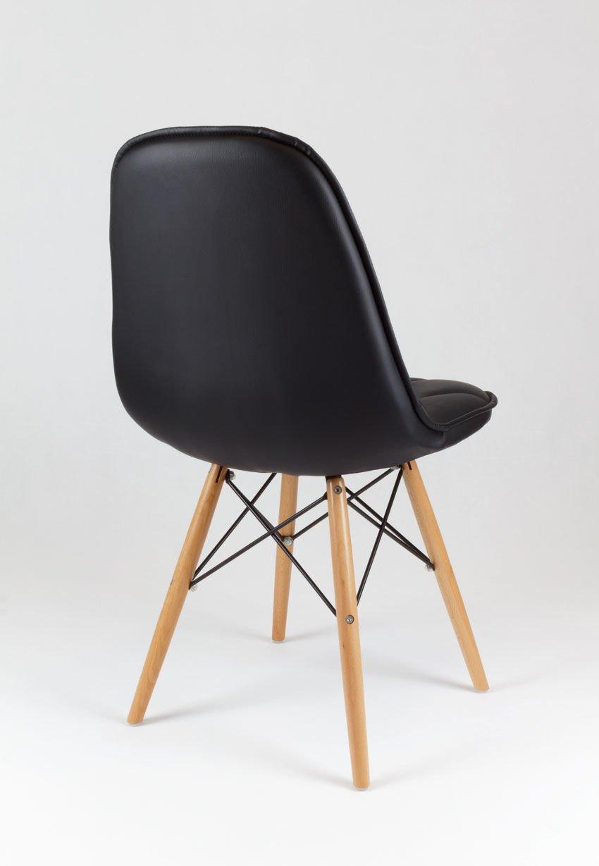Sk Design Ks007 Schwarz Kunsleder Stuhl Mit Holzbeine