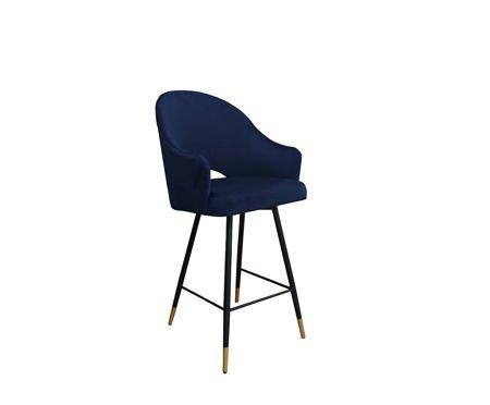 Dunkelblauer gepolsterter Sessel DIUNA Sessel Material MG-16 mit goldenem Bein