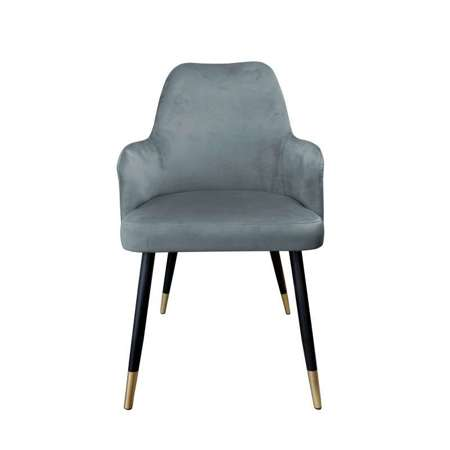 Dunkelgrau gepolsterter Stuhl PEGAZ Material BL-14 mit goldenen Bein